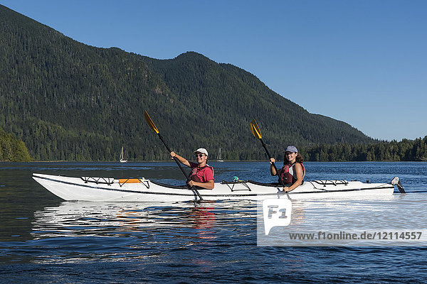 Kayaking in Clayoquot Sound  Vancouver Island; Tofino  British Columbia  Canada