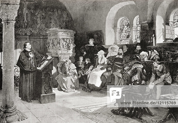 Martin Luther preaching in Wartburg Castle  Germany in 1521. Martin Luther  1483 – 1546. German professor of theology  composer  priest  monk and a seminal figure in the Protestant Reformation. From Hutchinson's History of the Nations  published 1915.