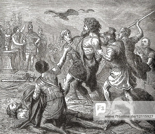 The capture of Teutobochus  a legendary giant and king of the Teutons. From Ward and Lock's Illustrated History of the World  published c.1882.