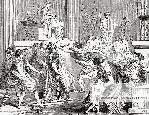 The murder of King Philip in 336 BC at Aegae  Greece by Pausanias of Orestis  one of his seven bodyguards. Philip II of Macedon. King of the Ancient Greek kingdom of Macedon. From Ward and Lock's Illustrated History of the World  published c.1882.
