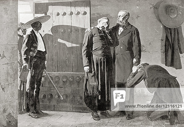 Last moments of Emperor Maximilian I of México before his execution by firing squad in 1867. Maximilian I of Mexico  1832 – 1867. Only monarch of the Second Mexican Empire. From Hutchinson's History of the Nations  published 1915.