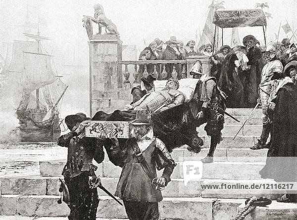 Conveying the body of Gustavus Adolphus to the ship at Wolgast for transfer to Sweden after his death at The Battle of Lützen  November 6  1632. Gustav II Adolf  1594 – 1632  aka Gustavus Adolphus or Gustav II Adolph. King of Sweden from 1611 to 1632. From Hutchinson's History of the Nations  published 1915.