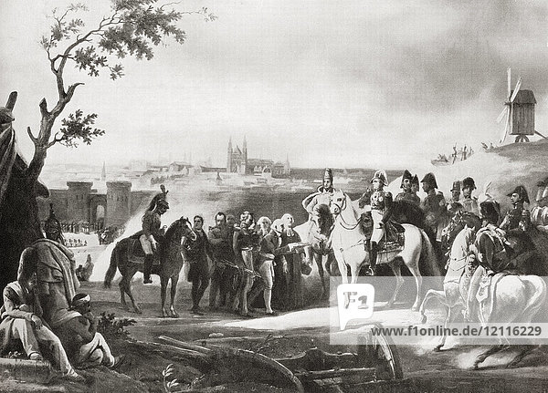 The surrender of Magdeburg  Kingdom of Prussia  after a siege by the French in 1806. From Hutchinson's History of the Nations  published 1915.
