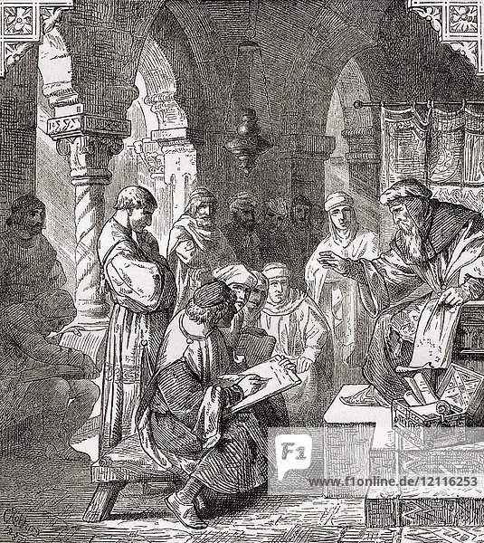 Arab students learning alchemy and astrology in a school in Cordoba  Spain in the 10th century. From Ward and Lock's Illustrated History of the World  published c.1882.