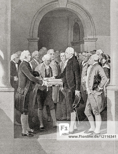 The inauguration of George Washington as President  1789. George Washington  1732 - 1799. American politician  soldier  one of the Founding Fathers of the United States and first President of America. From Hutchinson's History of the Nations  published 1915.