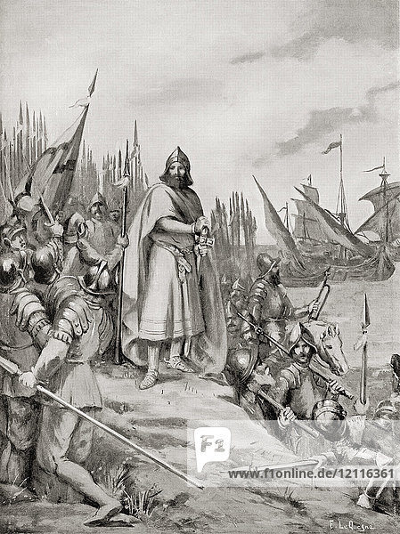 King Erik IX of Sweden lands on the coast of Finland  1157. Eric IX of Sweden  d. 1160  aka Eric the Lawgiver  Erik the Saint  Eric the Holy. Swedish king c. 1156-60. From Hutchinson's History of the Nations  published 1915.