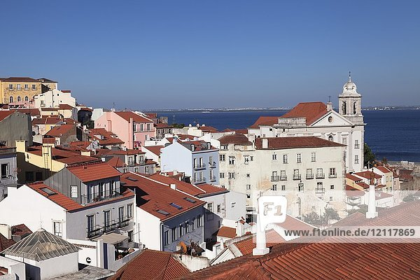 View from Miradouro Santa Luzia over the city and Tagus River  Alfama district  Lisbon  Portugal  Europe