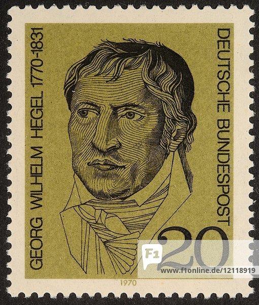 Georg Wilhelm Friedrich Hegel  deutscher Philosoph  Porträt auf einer deutschen Briefmarke 1970