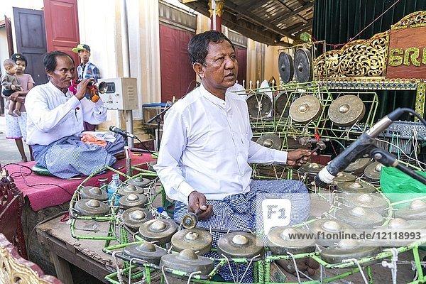 Musician at the Temple Festival in the Shwezigon Pagoda  Bagan  Myanmar  Asia  Bagan  Myanmar  Asia