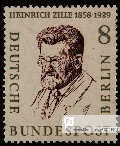 Heinrich Zille  deutscher Illustrator und Fotograf  Porträt auf einer deutschen Briefmarke (BRD) 1958