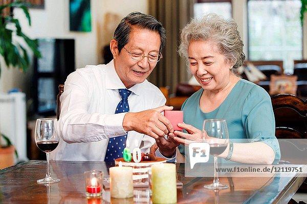 The old couple to celebrate the diamond wedding