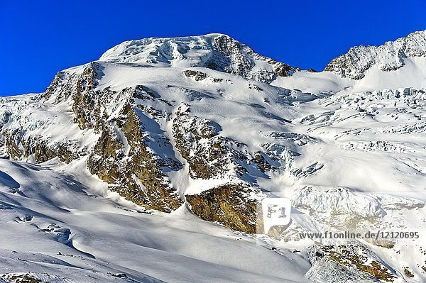 The snow-covered peak Alphubel  Pennine Alps  Saas-Fee  Valais  Switzerland.