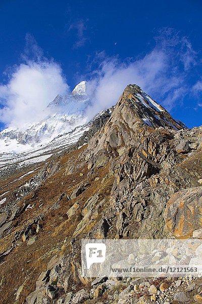 Peaks near Gangotri glacier  Uttarakhand  India.