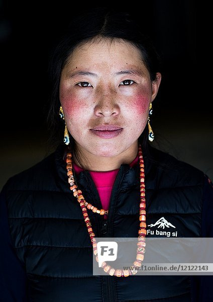 Portrait of a tibetan nomad woman with her cheeks reddened by the harsh weather  Qinghai province  Tsekhog  China.