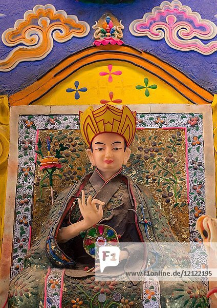 Tibetan buddhist sculptures made by monks from coloured butter in Labrang monastery  Gansu province  Labrang  China.