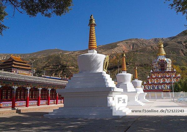Stupas in Wutun si monastery  Qinghai province  Wutun  China.