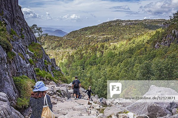 Trek to Preikestolen  Lyse Fjord  in Ryfylke district  Rogaland Region  It is the most popular hike in Stavanger area  Norway.