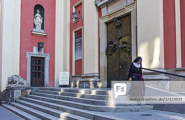 Facade of The church of the Gracious Mother of God in Swietojanska street Warsaw  Poland.