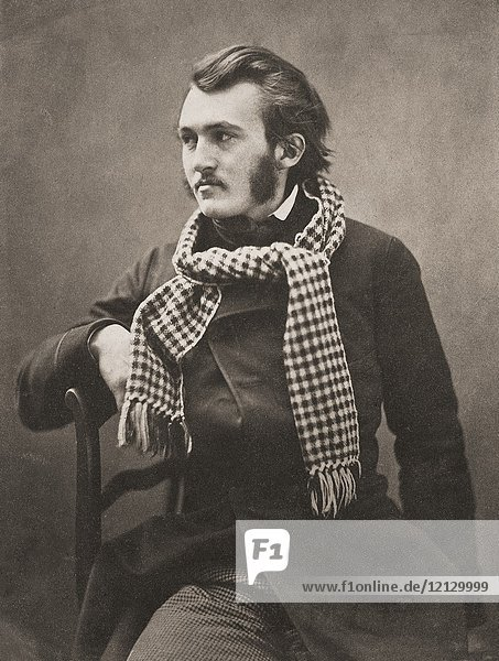 Portrait of French artist Paul Gustave Louis Christophe Doré,  1832-1883,  taken circa 1855 by French photographer Gaspard-Félix Tournachon,  1820-1910,  better known by his pseudonym Nadar.