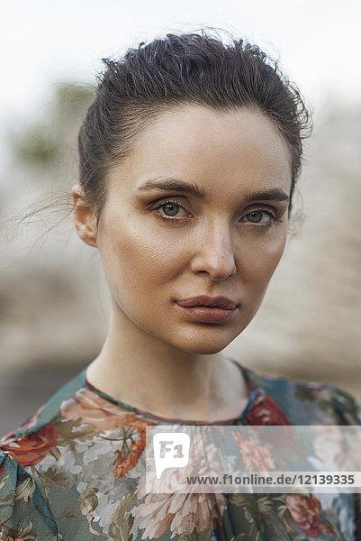 Portrait of confident Caucasian woman
