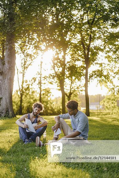 Zwei Freunde sitzen in einem Park mit mobilem Gerät und Papieren