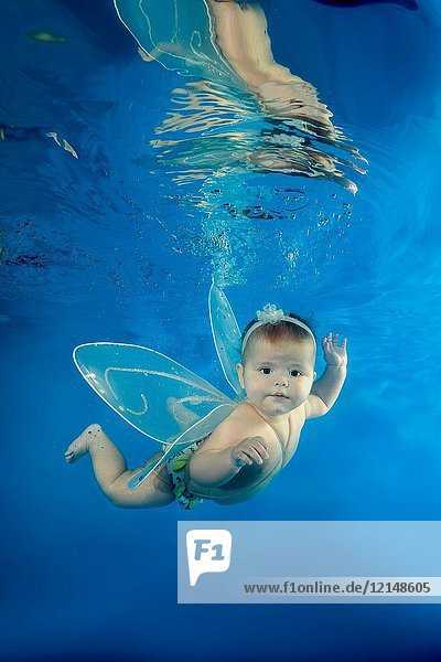 A little girl in a fairy costume swims underwater in the pool.
