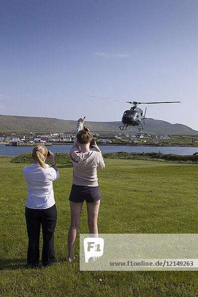 Helicopter departure for observation from Skellig Islands  County Kerry  Ireland  Europe.