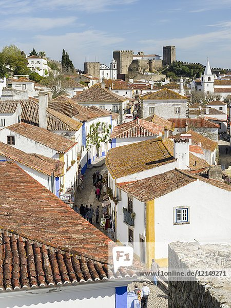 Historic small town Obidos with a medieval old town  a tourist attraction north of Lisboa Europe  Southern Europe  Portugal.