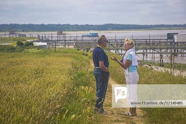A caucasian couple in their 70's talking and arguing and explaining things  in the green wheat fields by the ocean.