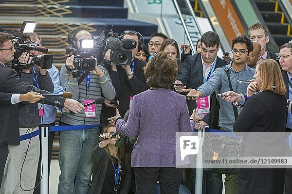 Detroit  Michigan - U. S. Secretary of Transportation Elaine Chao speaks to reporters at the North American International Auto Show.