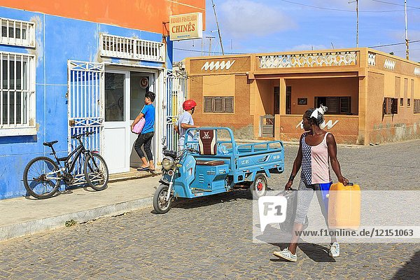 Local street scene in the residential district of Santa Maria  Sal Island  Salinas  Cape Verde  Africa.