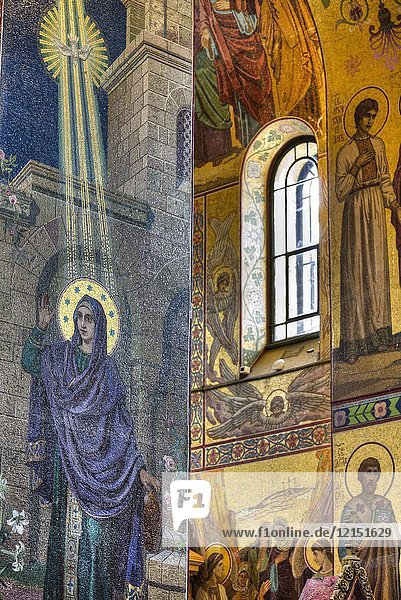 Wall Frescoes  Church of the Savior on Spilled Blood  UNESCO World Heritage Site  St Petersburg  Russia