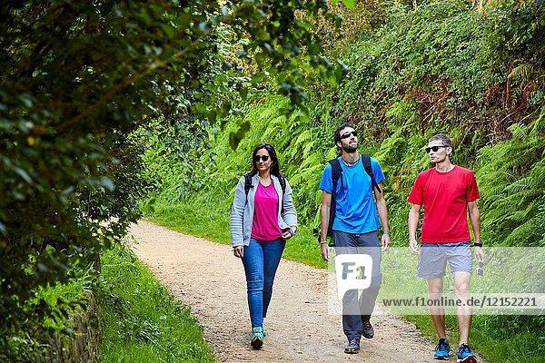 Group of tourists and guide making a tour of the Camino de Santiago  St. james Way  Pasaia  Donostia  San Sebastian  Gipuzkoa  Basque Country  Spain  Europe