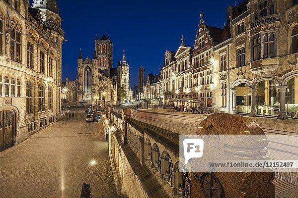 Evening in Ghent old town  Belgium.