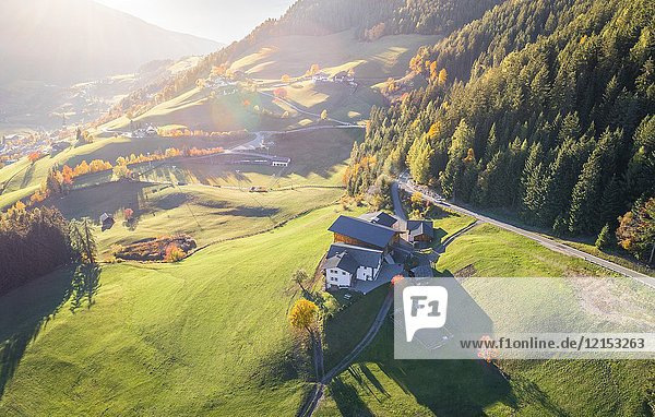 Aerial view of Funes Valley  Puez Odle Natural Park  South Tyrol  Italy.
