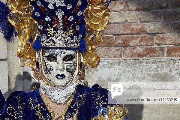 Traditional Venetian mask at Carnival 2017  Venice  Italy.