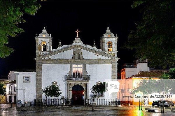 Historic part of Lagos city at night  Praca Infante Dom Henrique  Igreja de Santa Maria  Algarve  Portugal  Europe
