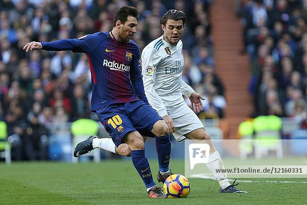 MADRID  SPAIN. December 23  2017 - Lionel Messi with the ball and Mateo Kovacic. Real Madrid failed to close out the year by claiming victory in El Clasico at the Santiago Bernabeu. FC Barcelona scored three times in the second half  Suarez  Messi and Aleix Vidal  to secure the first place in LaLiga with a 14 point lead over los blancos. Photos by Antonio Pozo | PHOTO MEDIA EXPRESS.