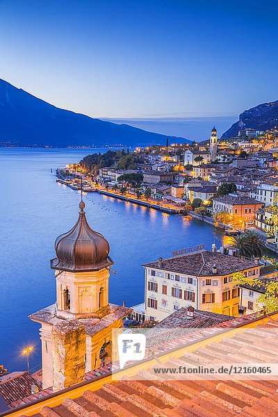 Limone sul Garda at dusk  Garda Lake  Brescia province  Lombardy  Italy.