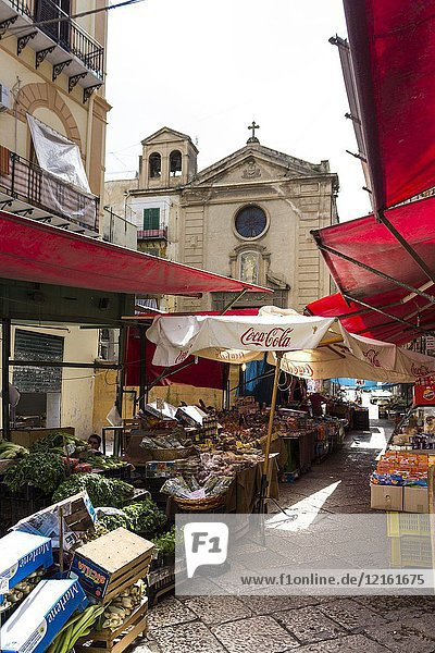 Market stalls at the market il capo. Palermo  Sicily. Italy.