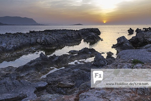 A striking view of Island of ladies at dusk. Palermo  Sicily. Italy.
