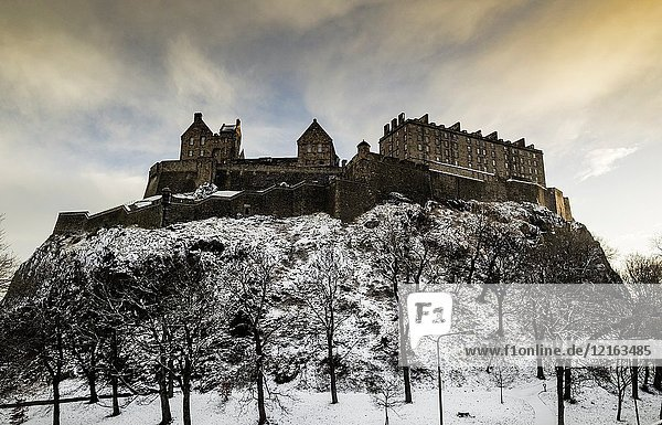 View of Edinburgh Castle after snowfall during winter in Scotland  United Kingdom.