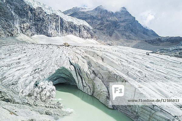 Aerial view of the glacial lake at the foot of Fellaria Glacier  Malenco Valley  Valtellina  Lombardy  Italy.