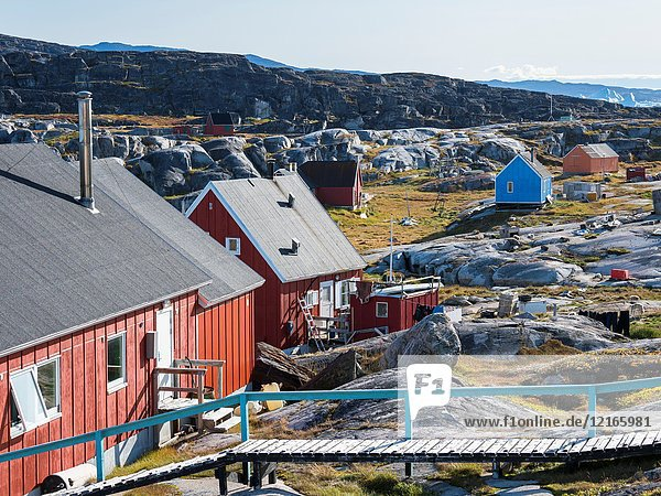 The Inuit village Oqaatsut (once called Rodebay) located in the Disko Bay. America  North America  Greenland  Denmark.