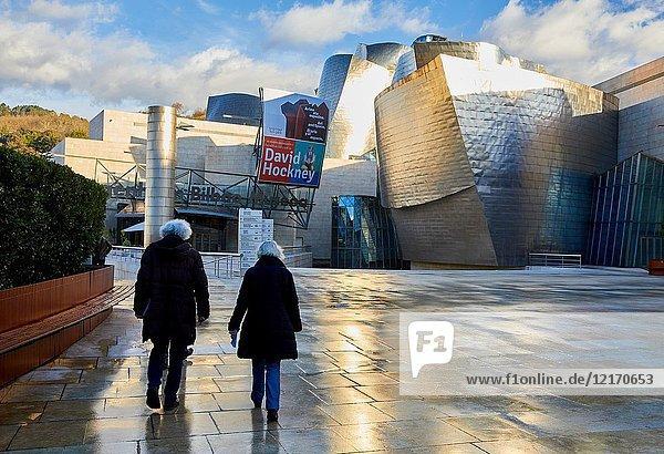 Senior couple  Guggenheim Museum  Bilbao  Bizkaia  Basque Country  Spain  Europe