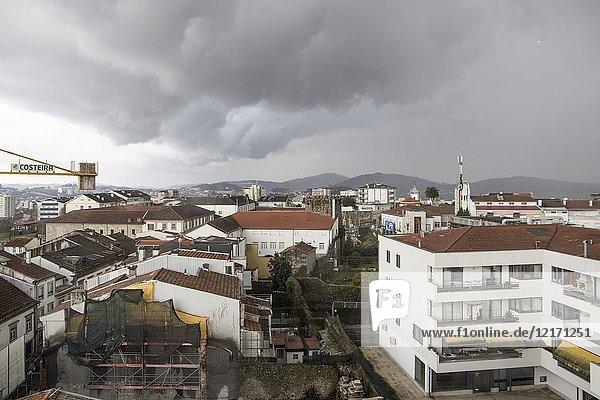 Aerial view in Braga a rainy day. Portugal.
