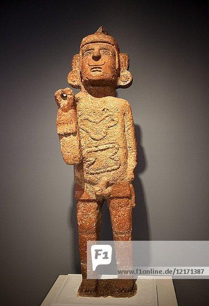 An image of the god Xipe-Totec displayed in Museo Amparo  in Puebla de los Angeles  Mexico.