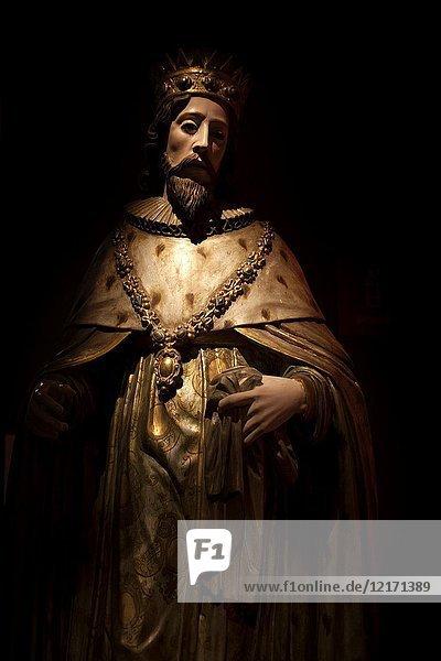 A sculpture of Saint Louis  king of France  is displayed in Tesoros de la Catedral museum in Puebla de los Angeles  Mexico.