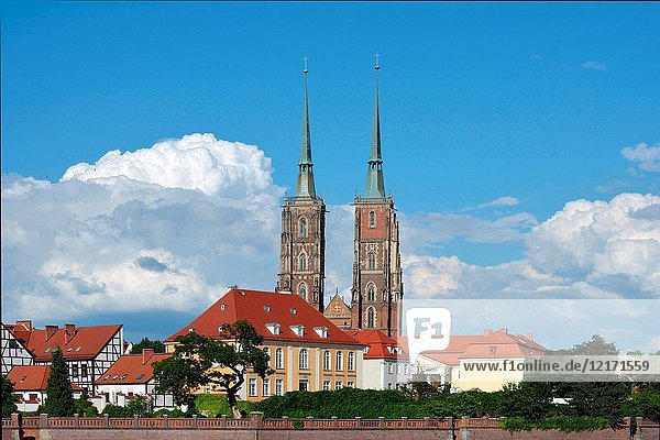 Cathedral of St. John the Baptist on the Cathedral Island of Wroclaw in Poland - Ostrow Tumski.