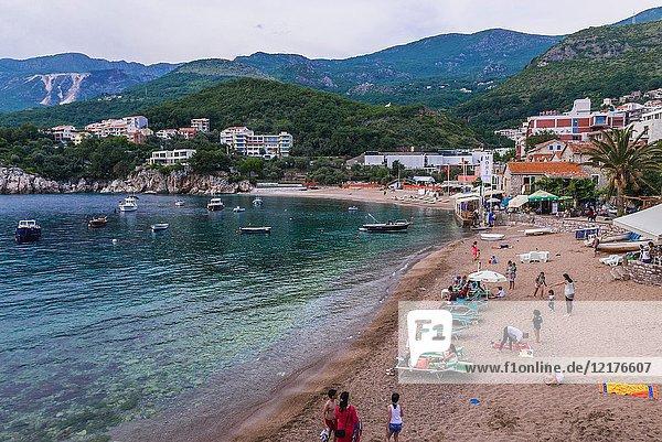 Beach of Przno resort village on the Adriatic Sea coast near Budva city Montenegro.